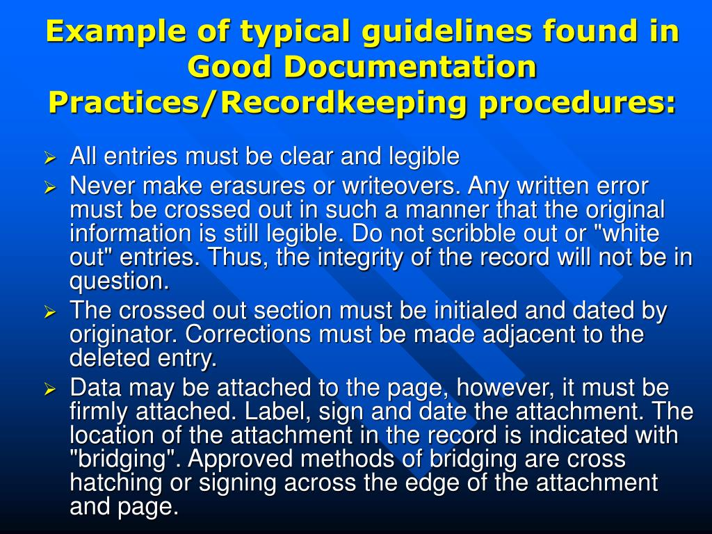 guidelines for good documentation practices