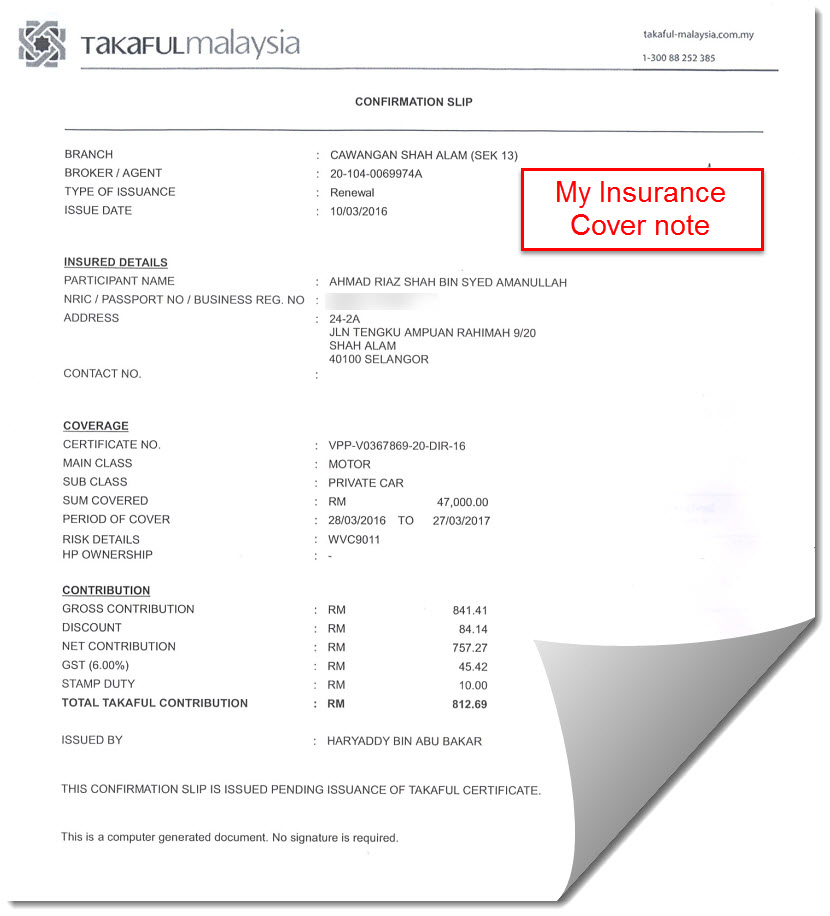 how the proof of registration document looks like in alberta