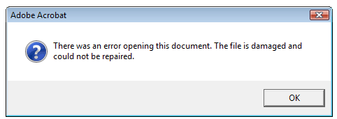 document is not a valid pdf file