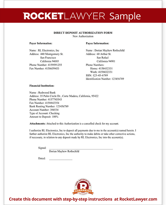 document from bank for direct deposit