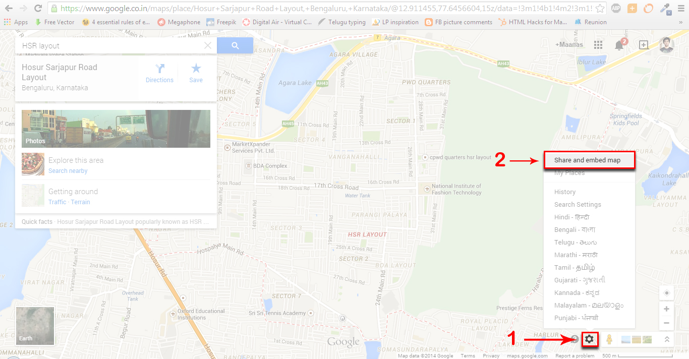 embed google map in document